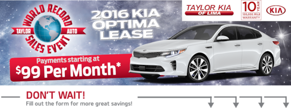 Kia Optima Lease 99 >> World Record Sales Event Taylor Kia Of Lima