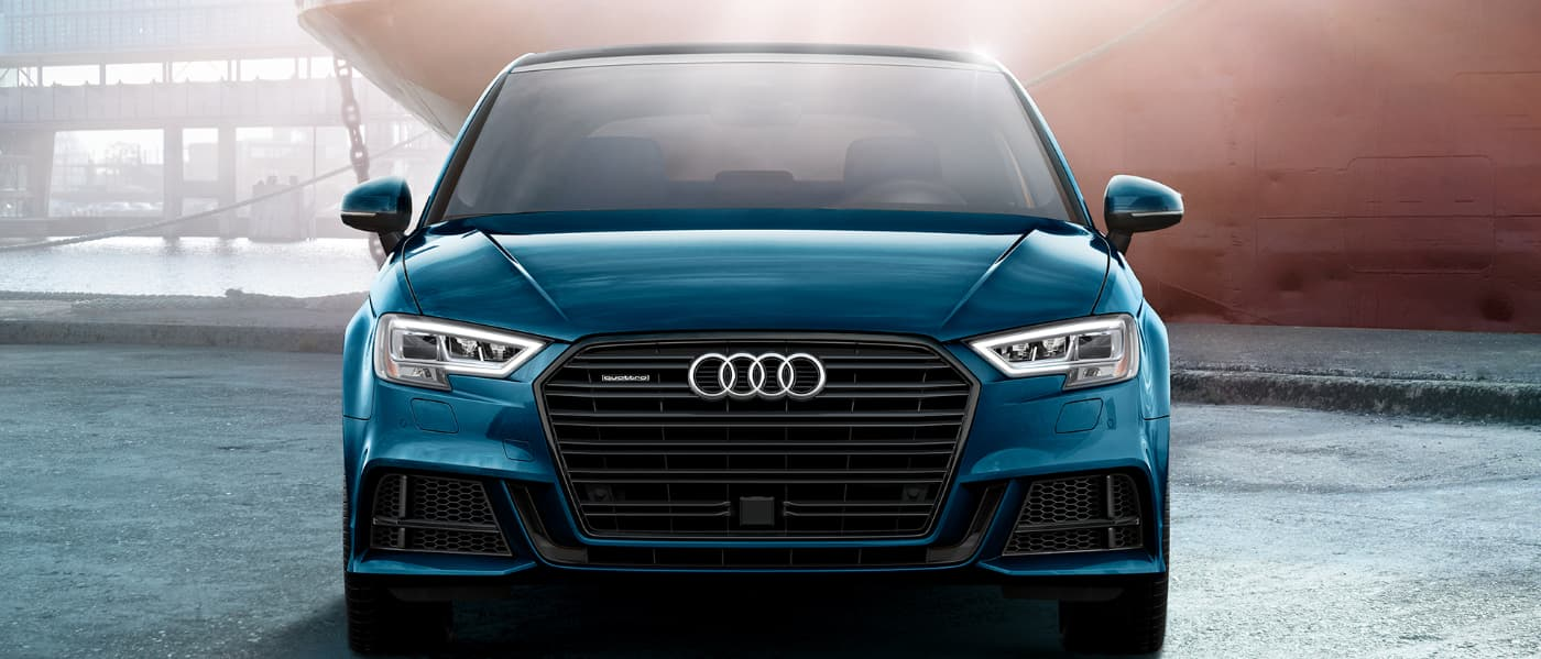 2020 Blue Audi A3 Parked in a Shipping Yard
