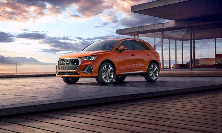 2021 Orange Audi Q3 Parked at Sunset