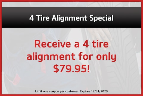 4 Tire Alignment Special for $79.95