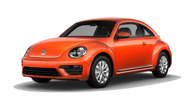 An orangle Volkswagen Beetle