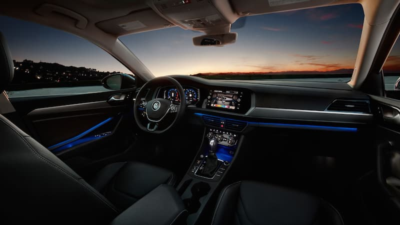The interior of a VW Jetta at sunset