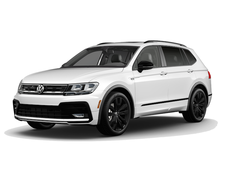 A white 2020 VW Tiguan SE R-Line with 4MOTION