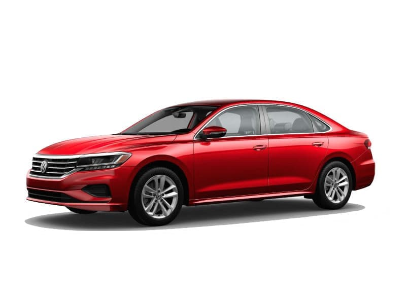 A red 2020 VW Passat SE
