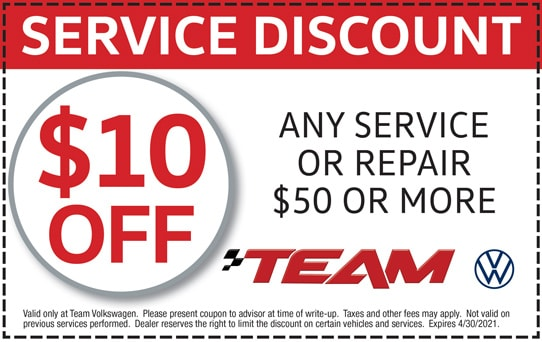 $10 Off Any Service or Repair $50 or More at Team Volkswagen | Merrillville, IN