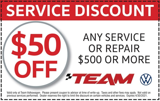 $50 Off Any Service or Repair $500 or More at Team Volkswagen | Merrillville, IN