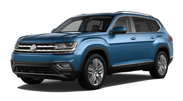 A blue 2019 VW Atlas SEL Premium