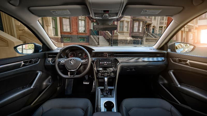 The dashboard on the 2020 VW Passat