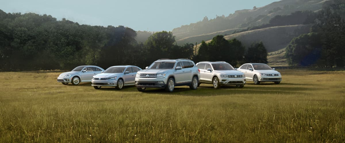 The 2019 VW Lineup parked in a field
