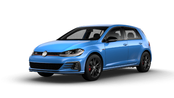 A blue 2019 VW Golf GTI Rabbit Edition