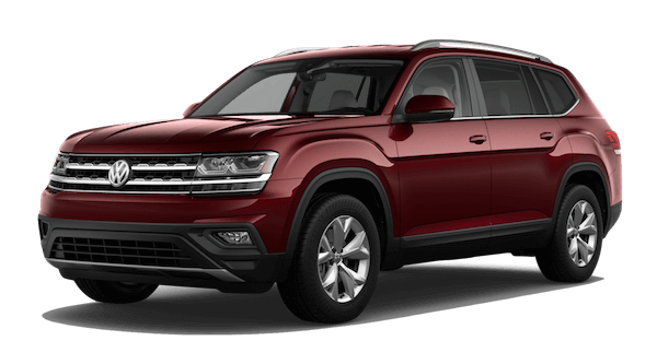 A red 2019 Volkswagen Atlas SE