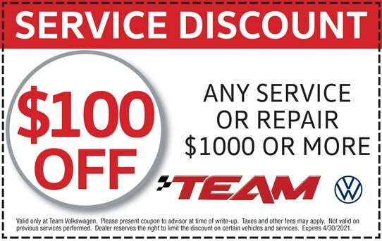 $100 Off Any Service or Repair $1000 or More at Team Volkswagen | Merrillville, IN