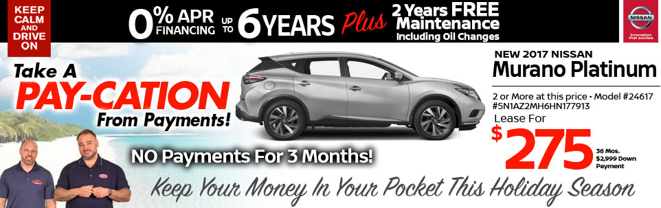 2017 Nissan Murano Platinum Lease Special at Team Nissan New Hampshire