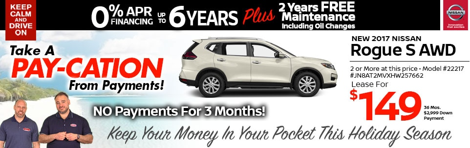 2017 Nissan Rogue S AWD Lease Special at Team Nissan New Hampshire