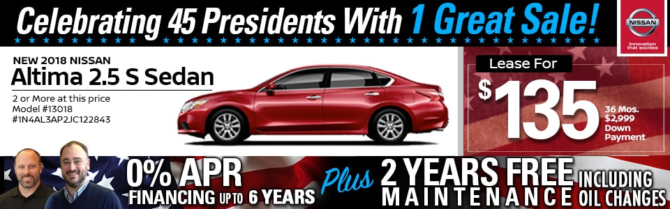 2018 Nissan Altima 2.5 S Sedan Lease Special at Team Nissan New Hampshire
