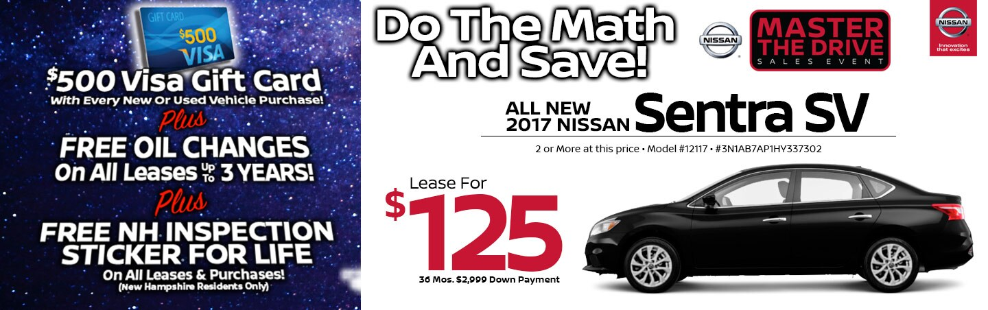 2017 Nissan Sentra SV Lease Special at Team Nissan North