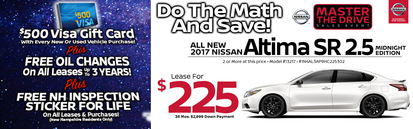 2017 Nissan Altima SR 2.5 Midnight Edition Lease Special at Team Nissan North