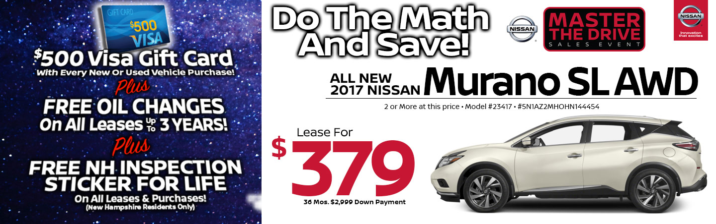 2017 Nissan Murano SL AWD Lease Special at Team Nissan North