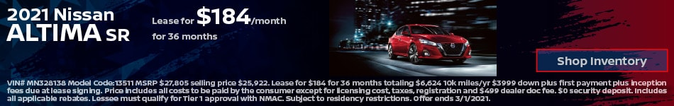 2021 Nissan Altima SR- February Lease Offer