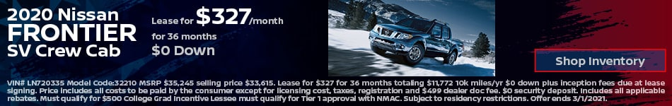 2020 Nissan Frontier SV Crew Cab- February Lease Offer