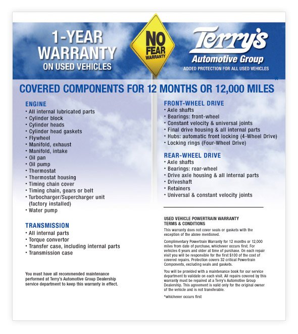 Terry's Lifetime Warranty on New Vehicles