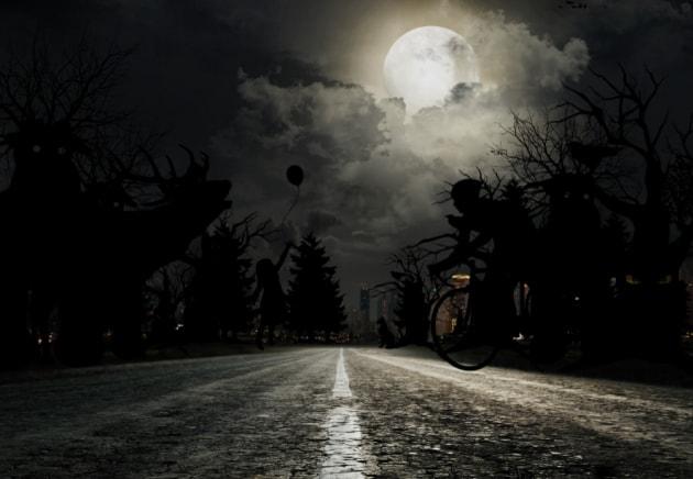 scary nighttime landscape