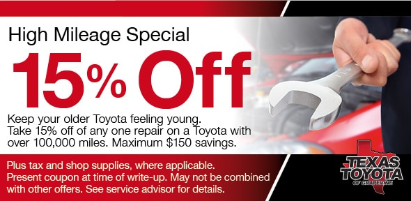 Toyota Service Coupons >> High Mileage Toyota Service Coupon Grapevine Tx Automotive Service