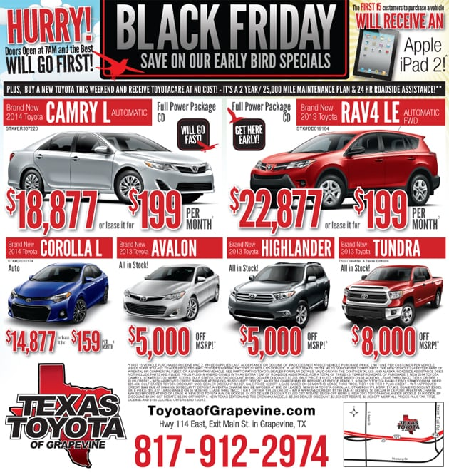 black friday car sales grapevine texas great black friday car deals at texas toyota of grapevine. Black Bedroom Furniture Sets. Home Design Ideas