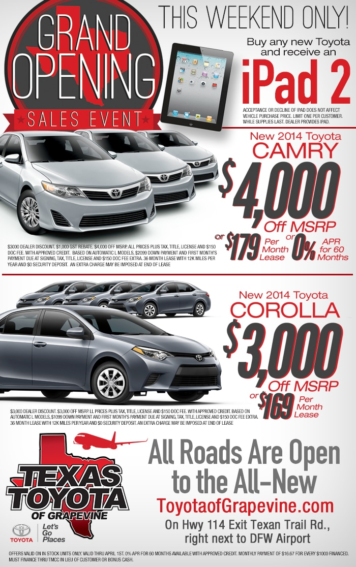 Grand Opening Sales Event at Texas Toyota of Grapevine
