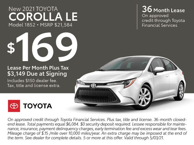 January Lease specials - Corrolla