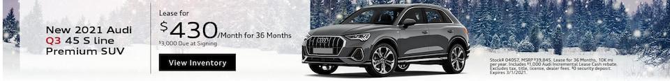 New 2021 Audi Q3 45 S line Premium SUV - Feb