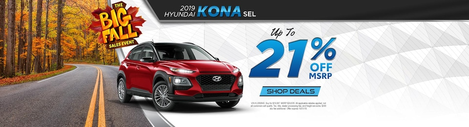 2019 Hyundai KONA SEL – UP TO 21% OFF!