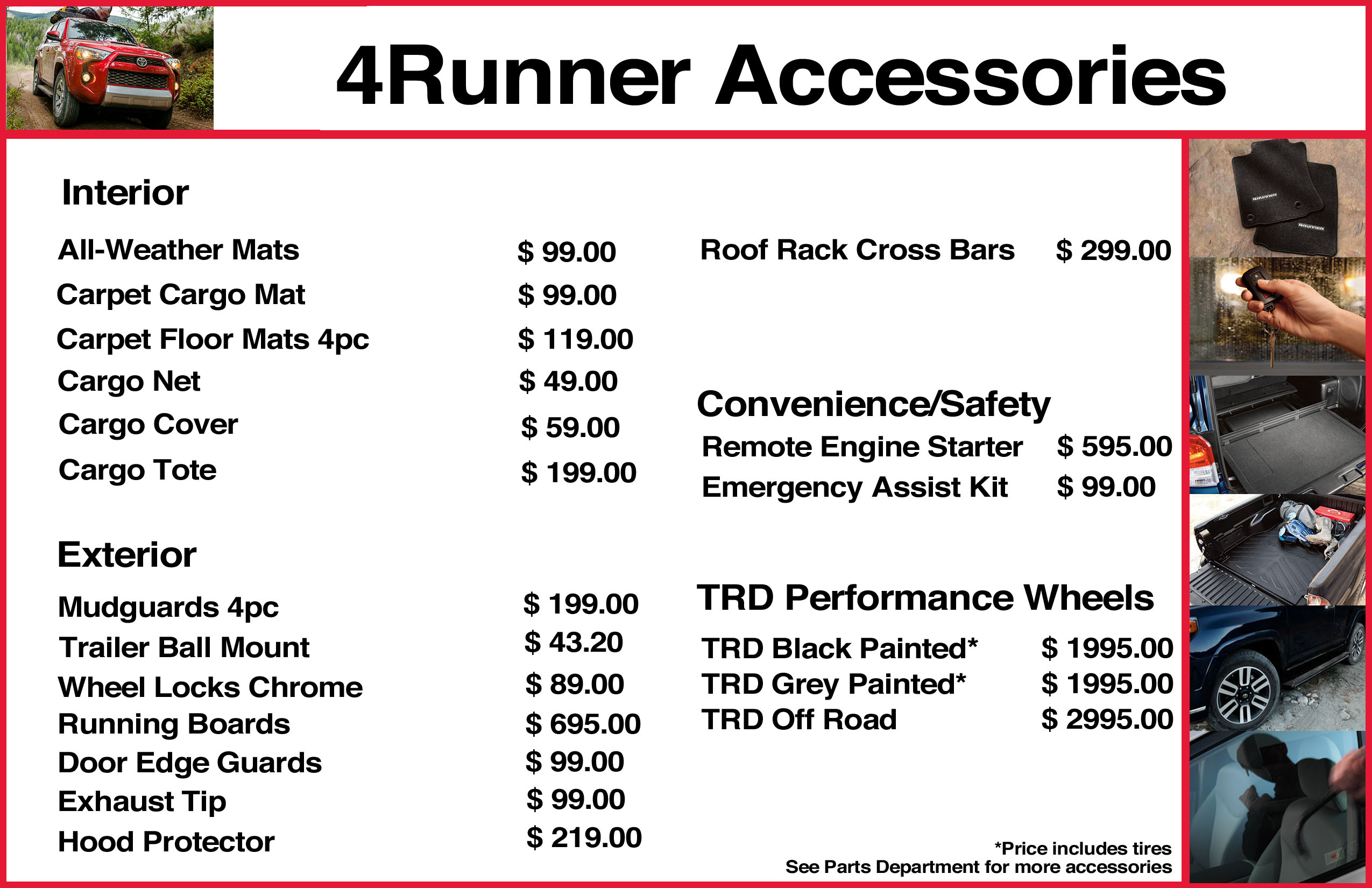 Toyota 4runner Accessories Sale Auto 99 Camry Fuel Filter Location Prior Sales