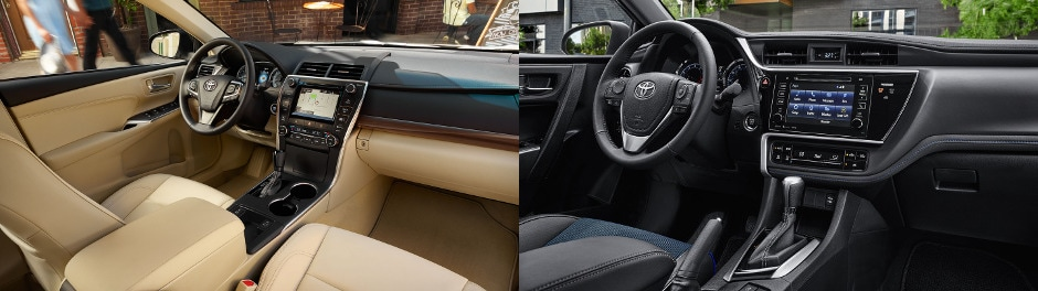 2017 Toyota Camry interior and 2017 Toyota Corolla interior