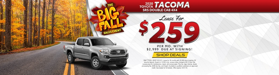 2020 Toyota Tacoma SR5 DBL CAB 4x4 V6 – Lease for $259 Per month!