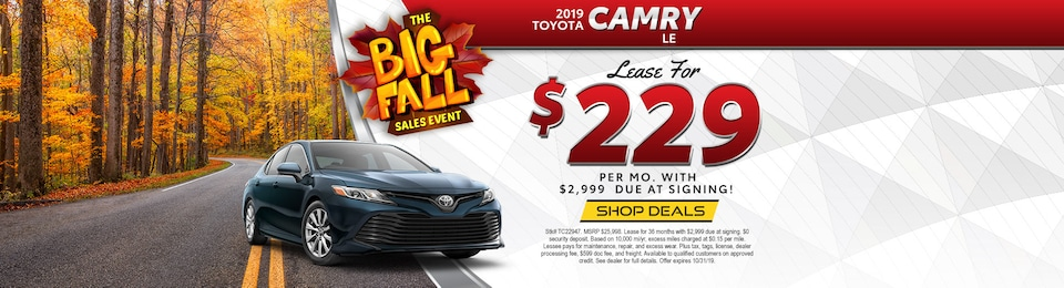 2019 Toyota Camry LE – Lease for $229 per Month!