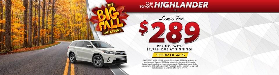 2019 Toyota Highlander LE – Lease for $289 per Month!
