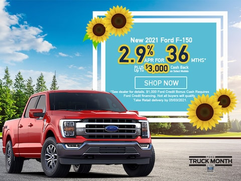 2021 Ford F-150 - As Low As 2.9% APR For 36 Months PLUS $3,000 CASH BACK*