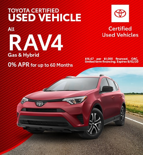 Toyota Certified Used Vehicle All Rav4 Gas & Hybrid