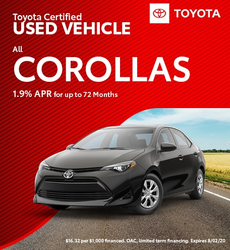 Toyota Certified Used Vehicle All Corollas