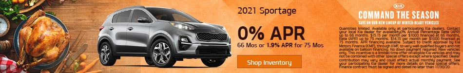 2021 Kia Sportage - 0% APR or 1.9% APR