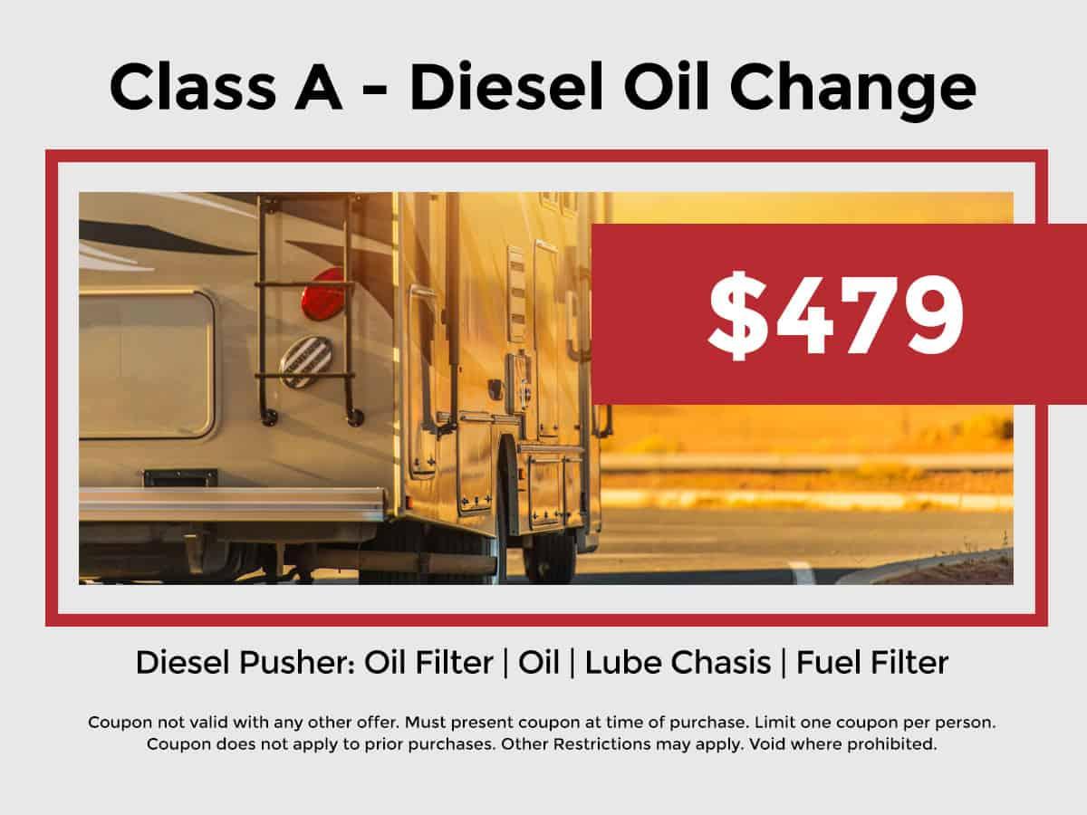 Class A - Diesel Oil Change $479