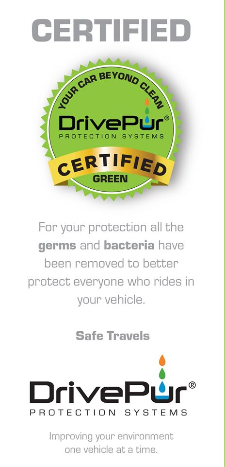 For your protection all the germs and bacteria have been removed to better protect everyone who rides in your vehicle