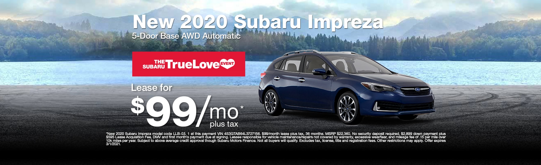 Special Lease offer on new Impreza at Timmons Subaru of Long Beach