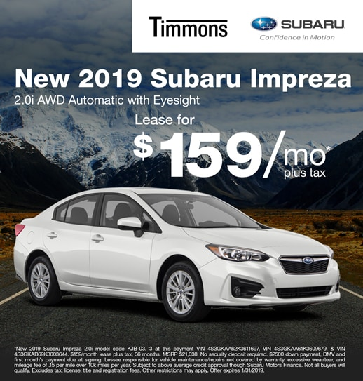 2019 Subaru Impreza 2.0i Automatic with Eyesight Available for $159 per month at Timmons Subaru