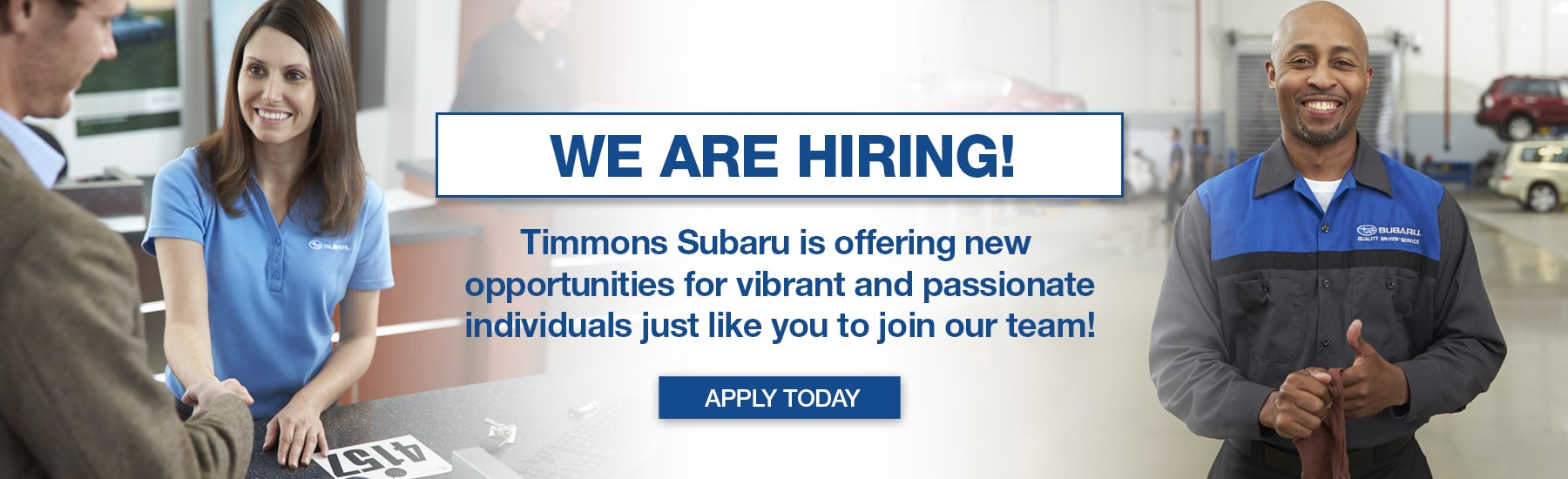Join the Timmons Subaru of Long Beach Team. See Job Opportunities available now!