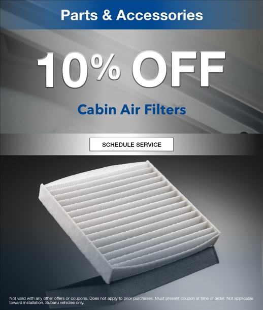 10% off cabin air filters a Timmons Subaru of Long Beach Parts Special