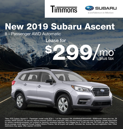 2019 Subaru Ascent 8 - Passenger Available for $299 per month at Timmons Subaru
