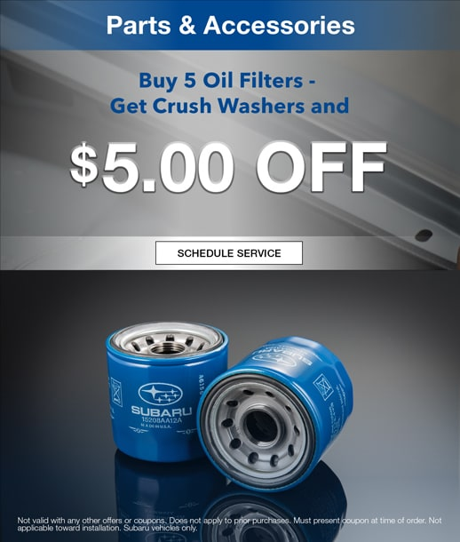 Buy 5 oil filters get crush washers and $5 off at Timmons Subaru in Long Beach