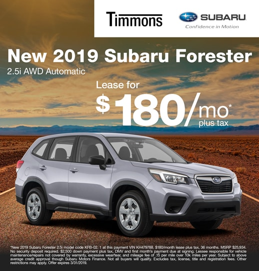 2019 Subaru Forester Lease special Available at Timmons Subaru Long Beach